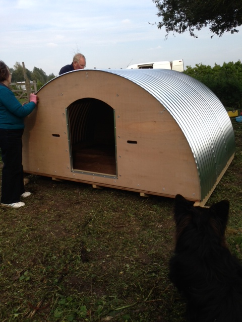 Bess and Mark complete the build, overseen by Darcy our German Shepherd in the foreground