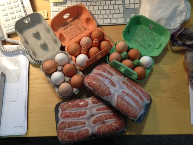Two packs of frozen sausages to sell and one and a half dozen eggs - The Smallholdings has had a fruitful week